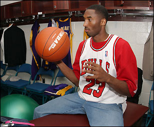 kgigyn Classic : Kobe Bryant Sports Michael Jordan\'s Bulls Jersey | Kicks