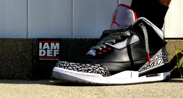 "free shipping e9a1a defe4  WDYWT –  Deftronic Rockin  The Air Jordan 3 ""Black Cement""   Kicks Addict  l The Official Sneaker Head s Online Magazine   Blog"