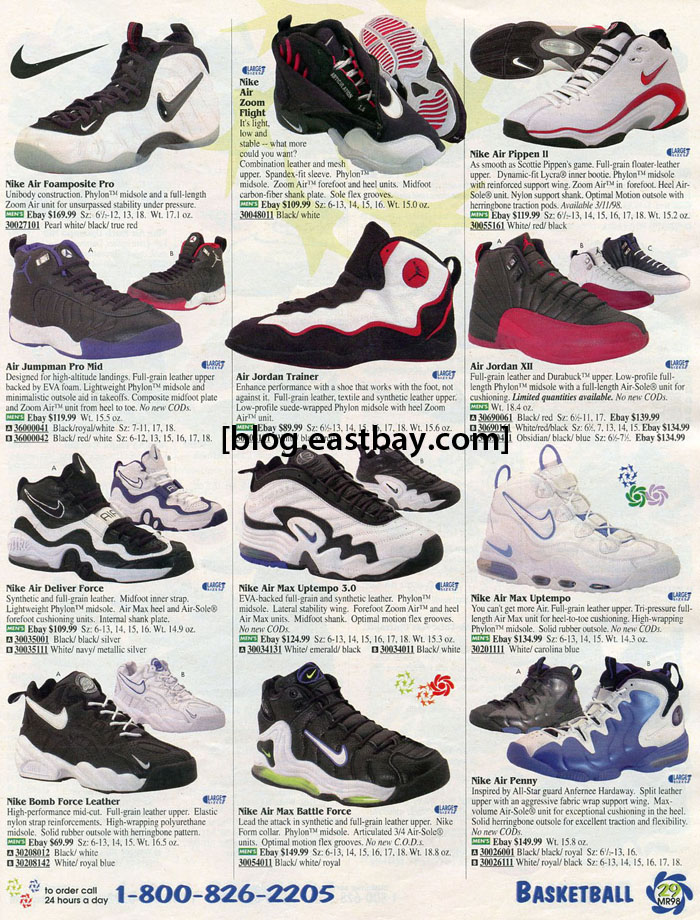 a905cc410 In this edition of Eastbay Memory Lane we go back to 1998 with a page full  of classics from Nike Basketball and early Jordan Brand. Highlighting the  page is ...
