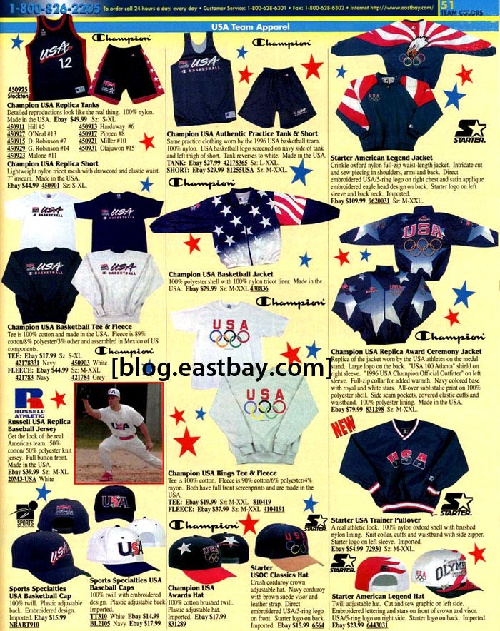 6243d0dff1d Memory Lane  1996 USA Olympics Apparel By  Eastbay