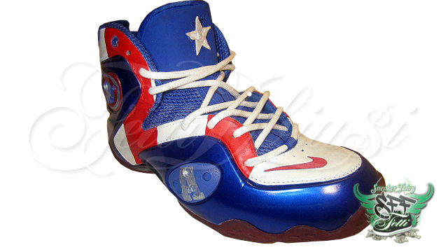 """30333a71e49b23 """"Take the Memphis Blue Zoom Rookie to the next level with my custom Captain  America design! Complete with Capt n A s signature star over the Penny  tongue ..."""
