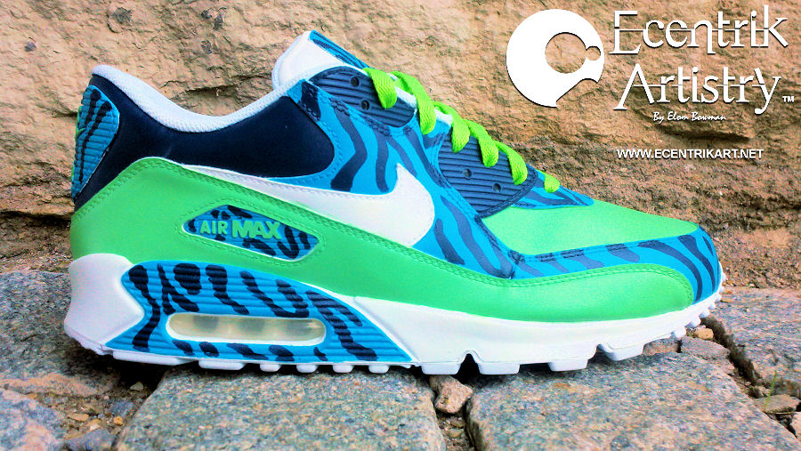 "new product a5e25 b1e0e Nike Air Max 90 ""Zebra Apocalypse"" Custom By  ecentrikshoeart"
