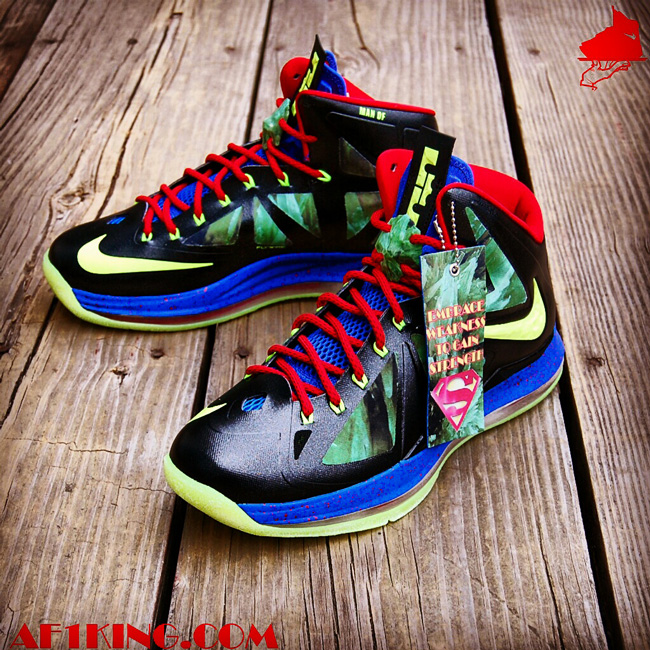 "buy popular 9a6e8 62e22 GourmetKickz follows up his ""Man of Steel"" Zoom Rookie with a custom LeBron  X bearing the same name and similar features. This time a NikeID LeBron X+  base ..."