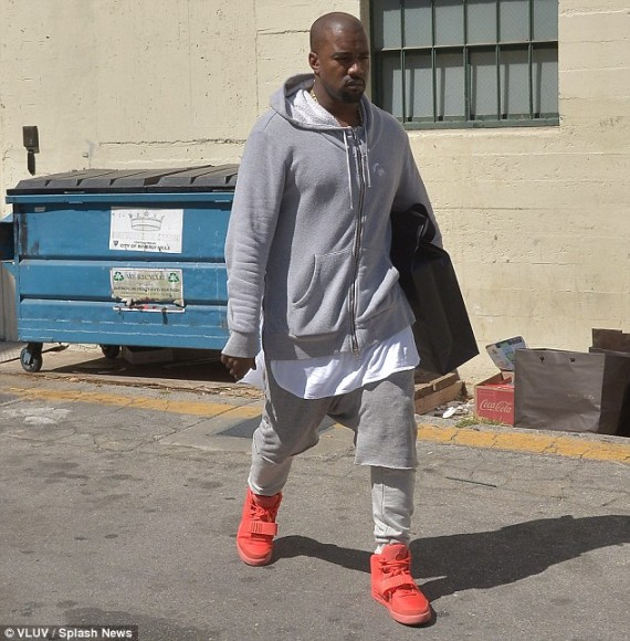 "52041731309 Celebrity Kicks Sightings  Kanye West spotted rockin His Nike Air Yeezy 2 ""Red  October"""