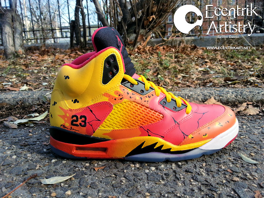 Air Jordan 5 Volcanic Eruption Custom By Ecentrikshoeart
